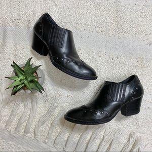Born black leather boho studded slip on booties